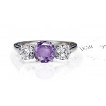 Glittering Round Purple Sapphire Three-Stone Sapphire Engagement Ring with Round Diamonds