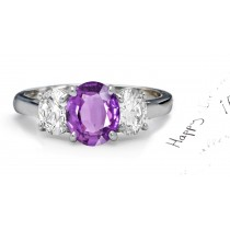 Sparkling Oval Purple Sapphire Three-Stone Sapphire Engagement Ring with Oval Diamonds
