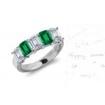Precious Promises: 5 Stone Emerald Cut Diamond & Emerald Cut Emerald Ring in Gold