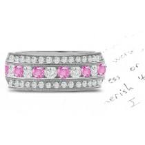 Pink Sapphire & Diamond Eternity Rings
