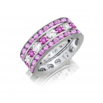 Lifetime of Love Eternity Band Ring With Round Cut Pink Sapphires & Diamonds