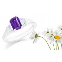 Emerald-Cut Purple Sapphire Three Stone Engagement Ring with Trapezoid Diamonds