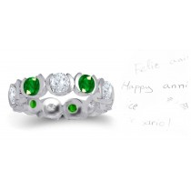 Diamond & Emerald Wedding Eternity Semi-Bezel Ring
