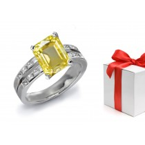 A Glittering Yellow Sapphire & Diamond Engagement Ring