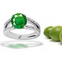Artistic Merchandise: Gold Split Shank Emerald Round & Diamond Anniversary Ring