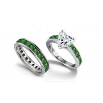 Heart Diamond & Crystal Green Princess Cut Emerald Engagement Ring & Emerald Wedding Band in Gold