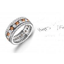 View Wide Range of Pink Orange Sapphires & Diamonds Eternity Ring