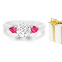Pear Pink Sapphire 3 Stone Engagement Ring with Round Diamond in 14k White Gold & Platinum
