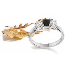 Square Black Sapphire Three Stone Sapphire Engagement Ring with Round Sapphires in 14k White Gold