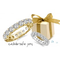 Gold Prong Diamond Anniversary Rings
