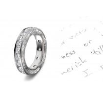 Diamonds Create Drama: View This Illuminating Engraved Motifs Decorate the sides of this Diamond Eternity Wedding Band