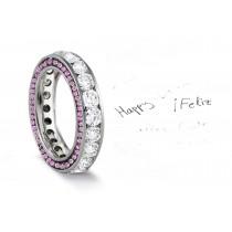 Micro pave Halo Brilliant Round Diamond & Vivid Pink Sapphire Eternity Rings