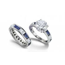 Round Diamond & Baguette Blue Sapphire Engagement Ring and Wedding Band in Gold