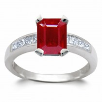 Ruby Anniversary Rings:Ruby Octogon and Baguette Diamonds in Platinum Ring