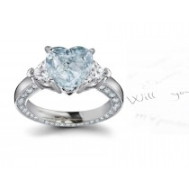 Center Heart Blue Diamond & Heart White Diamonds Accents Three Stone Engagement Ring in Platinum Mounting
