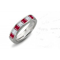 5 Stone Princess Cut Ruby Diamond Half Eternity Ring