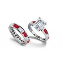 Emerald Cut Diamond & Baguette Ruby Ring & Sapphire Gold Band