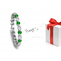 Shimmering: Bar Set Round Emerald & Diamond Eternity Band in 1.0 to 3.0 cts tw in Platinum