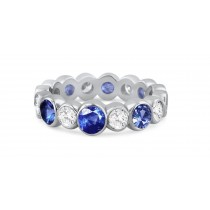 Shop Fine Quality Made To Order Round Bezel Set Diamond & Blue Sapphire Eternity Style Wedding & Anniversary Rings