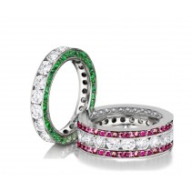 Made to Order Channel Set Brilliant Cut Round Diamonds, Emeralds & PinkSapphires SetEternity Rings & Stackable Bands