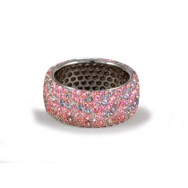 Delicate Women's Eternity Rings Featuring Vivid Purple Sapphires&Diamonds in Halo Precision Micro pave Settings