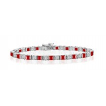 Premier Designer Colored Gemstone Jewelry Collection: New Ruby & Diamond Interlocking Bracelet and Necklace