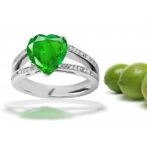 Custom Made Artisan: Pave Set Diamond Split Shank Gold & Emerald Heart & Diamond Ring