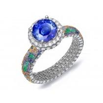 Brilliant & RichPave Cluster Diamond & Multi-Colored Precious Stones Rubies, Emeralds & Blue, Pink, Purple, Yellow Sapphires