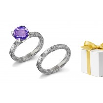 Unique:Engraved Purple Sapphire & White Diamond Ring