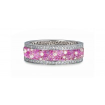 Shop Fine Quality Made To Order Round pave SetDiamond & PinkSapphireEternity Style Wedding & AnniversaryRings