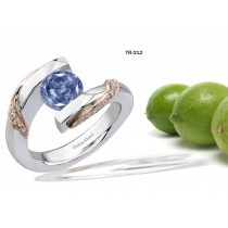 Platinum or Gold Fancy Color Blue Diamond Tension Set Tension Set Engagement Rings