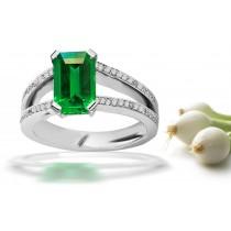 Gifted Goldsmith: Pave Set Diamond Split Shank Emerald Cut Emerald & Diamond Ring