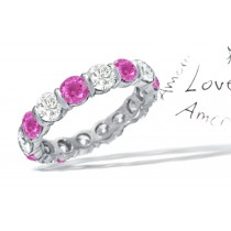 Diamond & Pink Sapphire Eternity Rings