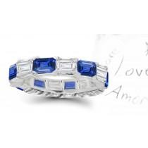 Emerald Cut Blue Sapphire & Emerald Cut Diamond Eternity Ring