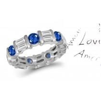 Baguette Diamond Round Sapphire Eternity Ring