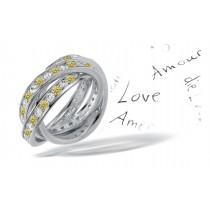 Premier Colored Diamonds Designer Collection - Yelllow Colored Diamonds & White Diamonds Fancy Yellow Diamond Eternity Rings