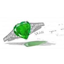 Cluster of Diamonds: Pave Set Diamond Shank Emerald Heart & Diamond Anniversary Ring