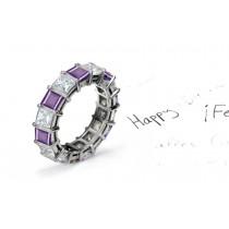 Designer Purple Sapphire Diamond Engagement Ring