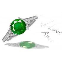 Diamond Cluster: Pave Set Gold & Diamond Cluster Shank Emerald Anniversary Ring