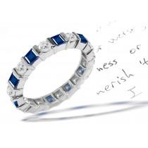 Round Diamond Square Sapphire Eternity Ring