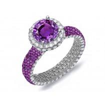 VibrantPave Cluster Diamond & Multi-Colored Precious Stones Rubies, Emeralds & Blue, Pink, Purple, Yellow Sapphires