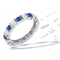 Princess Cut Diamond Blue Sapphire Eternity Ring