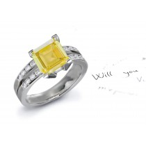 A Classic: Fine Designer Yellow Sapphire & Diamond Engagement Ring