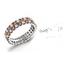Explore Pink Orange Sapphires & Diamonds Eternity Ring