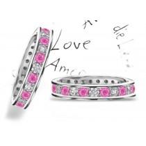 Round Pink Sapphire & Diamond Eternity Rings