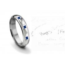 Burnish Round Blue Sapphire Eternity Ring