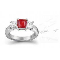 Stylish Classical: Elegant Ruby Diamond Engagement Platinum & Gold Rings
