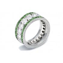 Shop Fine Quality Made To Order Round Hand EngravedDiamond & EmeraldEternity Style Wedding & AnniversaryRings