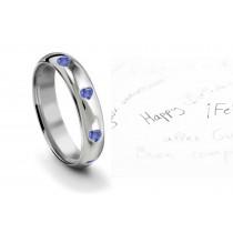 Burnish Set Heart Blue Sapphire Eternity Ring