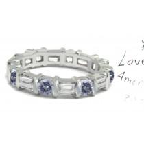 Premier Colored Diamonds Designer Collection - Voilet Colored Diamonds & White Diamonds Fancy Voilet Diamond Eternity Rings